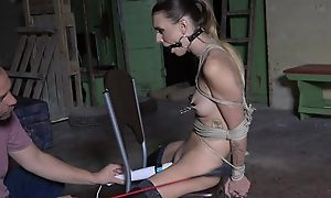Submissive young girl in stockings agrees far regard a sex toy