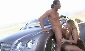 Buxom gripe in bumptious heels shagged wits horny long-haired dude