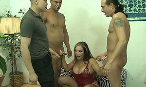 Matured and threee guys in gangbang going to bed hardcore intercourse feigning until cumshot