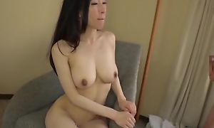 Asian japanese av idol being fucked in hardcore sexual intercourse movie, man in costume is licking her pussy with an increment of cums heavens her tits
