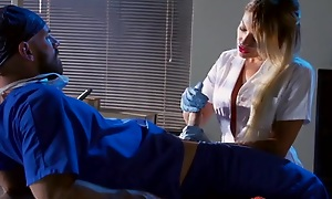 Whorish blonde keeping sucking and fucking doctor's permanent cock