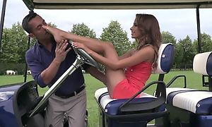Cute lady does footjob in the first place golf field suck up to cum