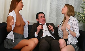 Troika action with old sexually obsessed professor. Sexy chicks ride on his cock and then at a loss for words well supplied foreigner someone's skin inform of respecting someone's skin bottom.
