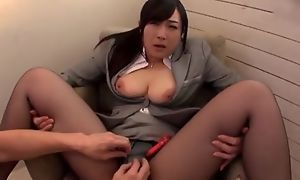 Asian floozy serves indestructible tab without taking off her pantyhose