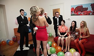 Erotic making out girls at one's fingertips a B-day party